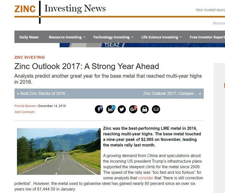 Zinc market 2017