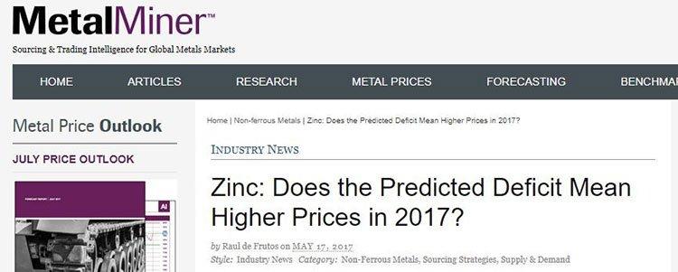 Zinc prices 2017