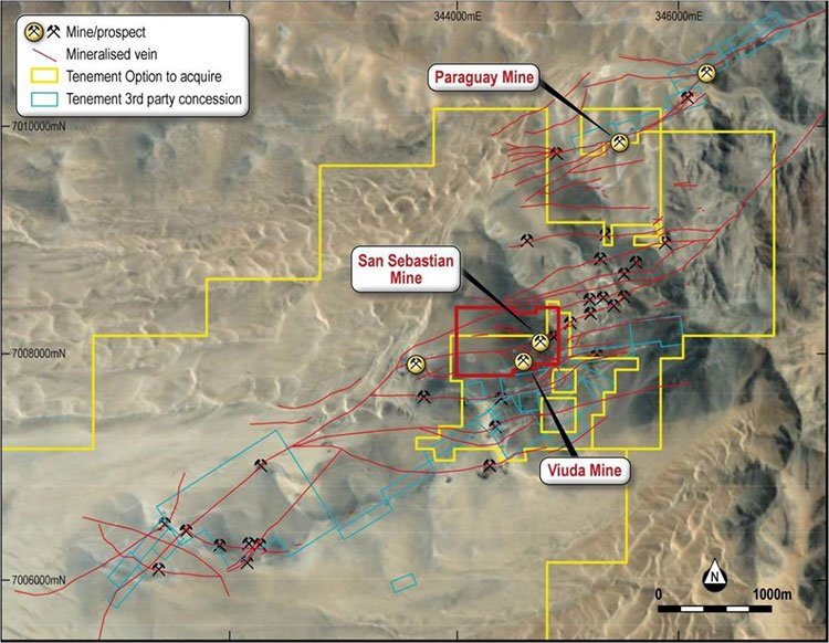 Mapped mineralised veins marked in red at Metallum (ASX:MNE)'s El Roble Project